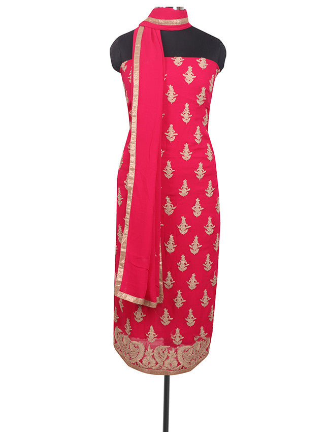 Dark pink unstitched suit with zari cording