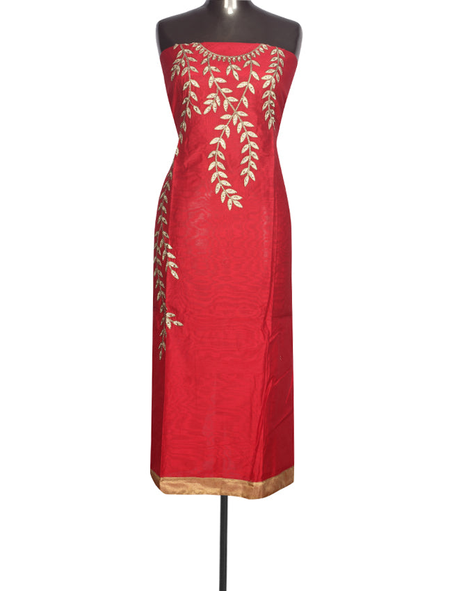 Cherry red unstitched suit with kundan and zari embroidery