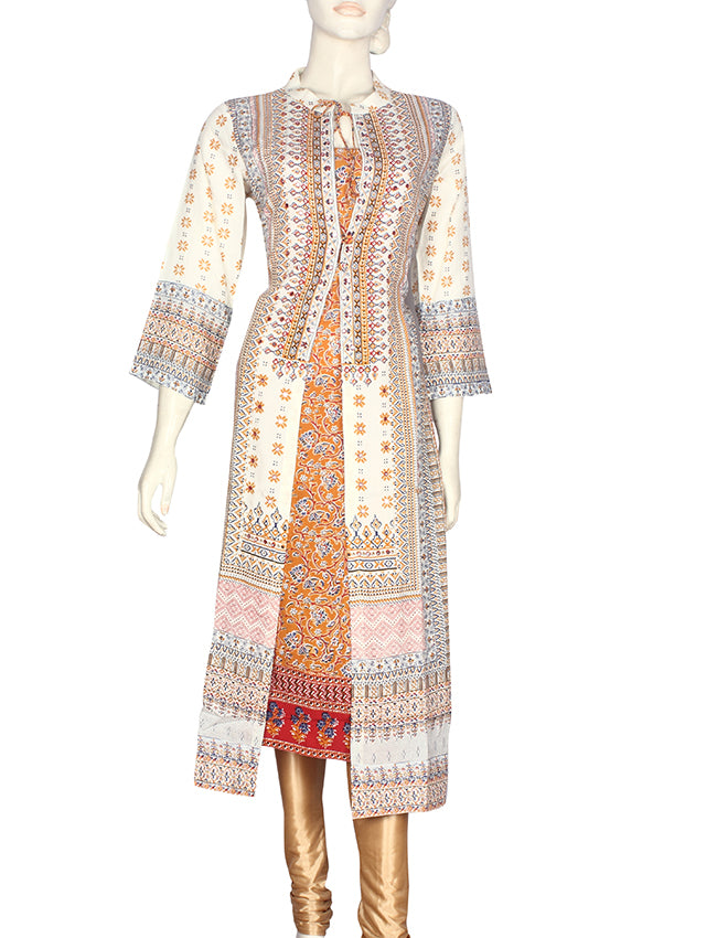 Cream and mustard yellow printed jacket style kurti