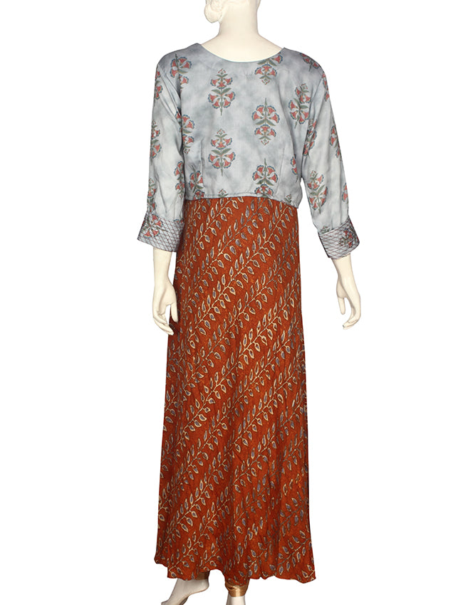 Brown and grey printed crop top style kurti