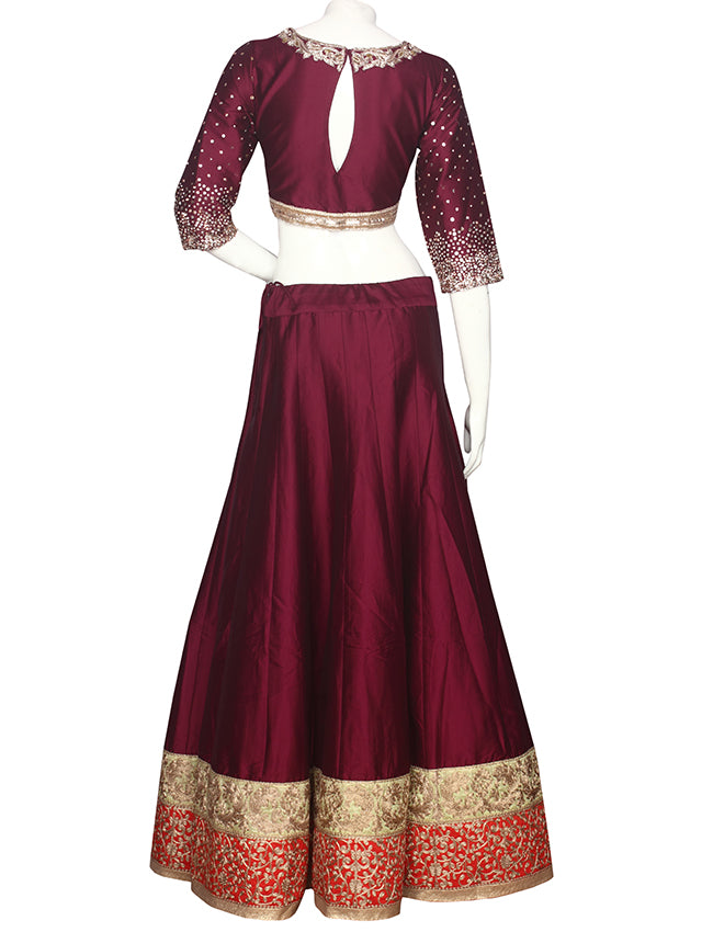 Wine indowestern lehenga with zari cording and handwork