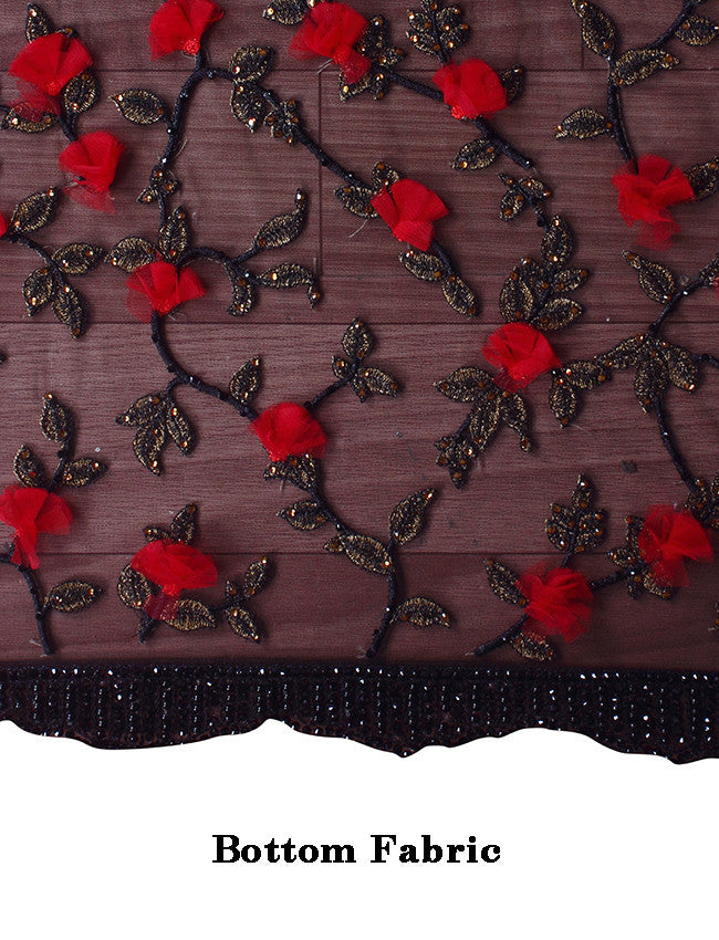 Black party wear saree with zari embroidery and patchwork