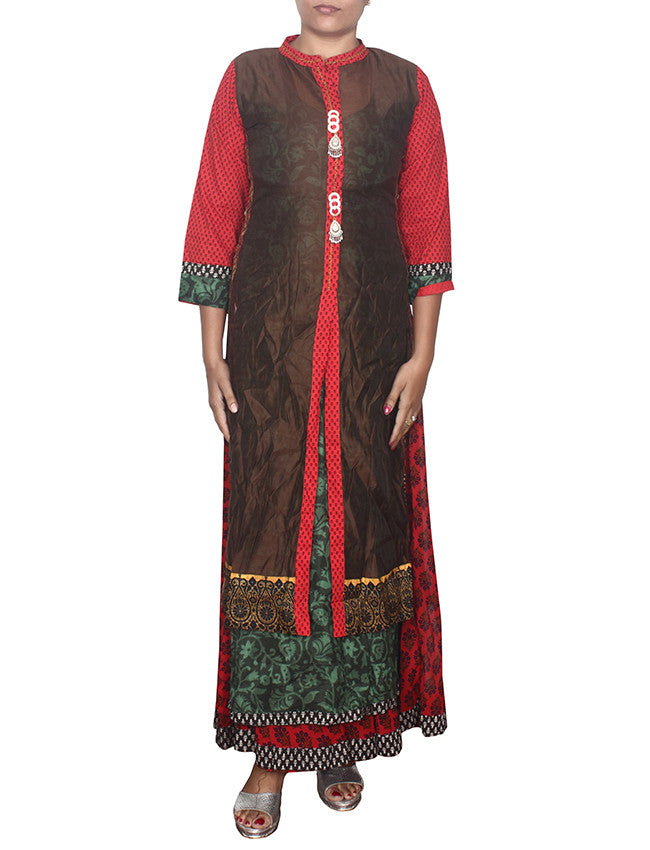Brown printed designer jacket style kurti