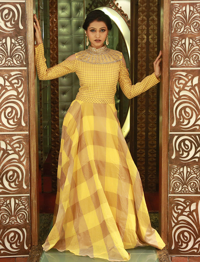 Yellow designer suit with kundan and zari embroidery