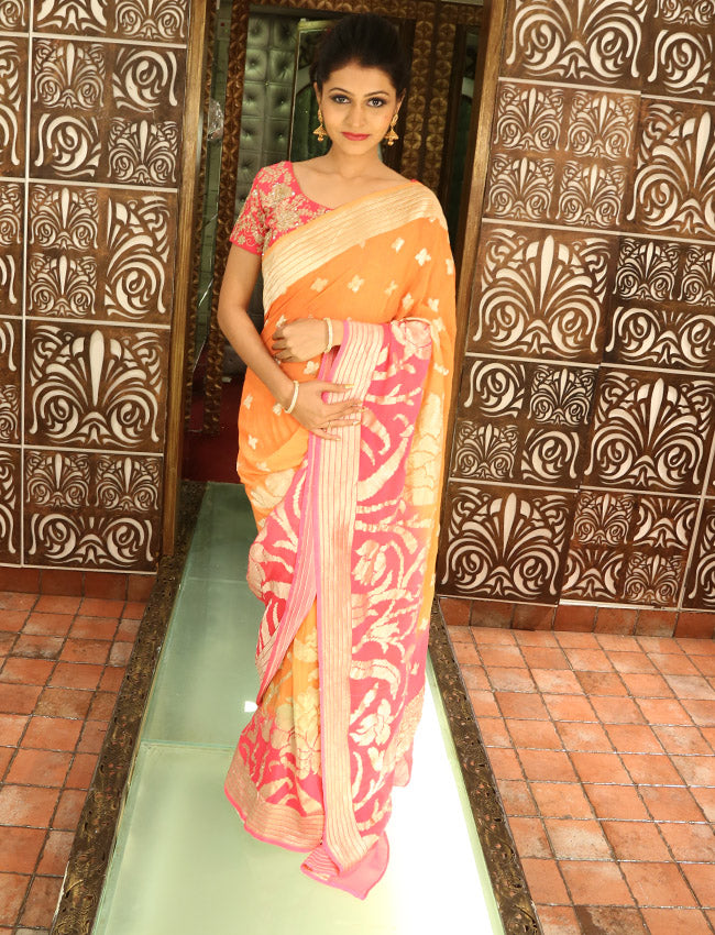 Orange and rose pink saree with self weaving
