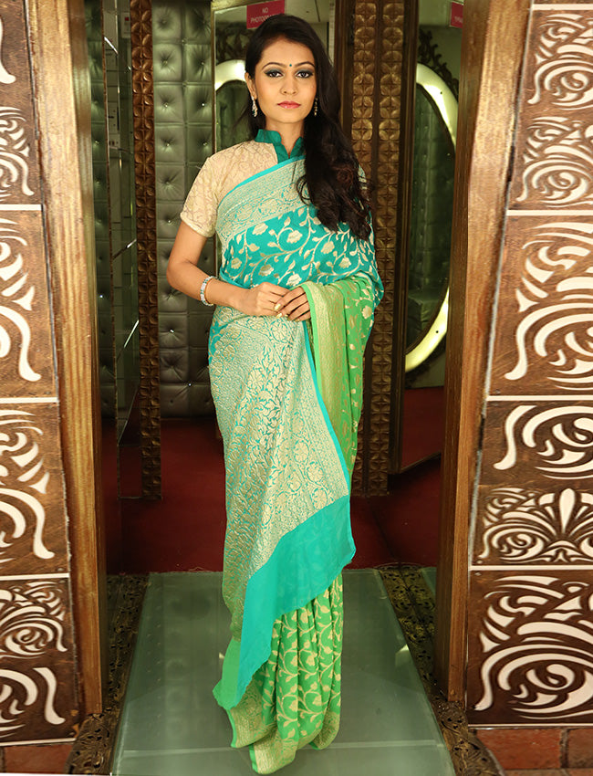 Ice blue party wear saree with self weaving