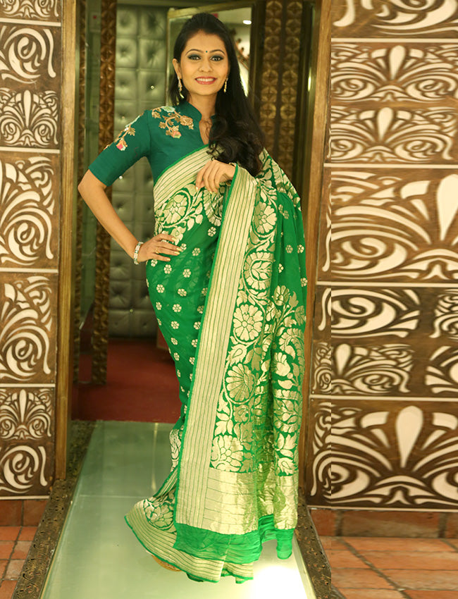 Turquoise and pista green saree with self weaving
