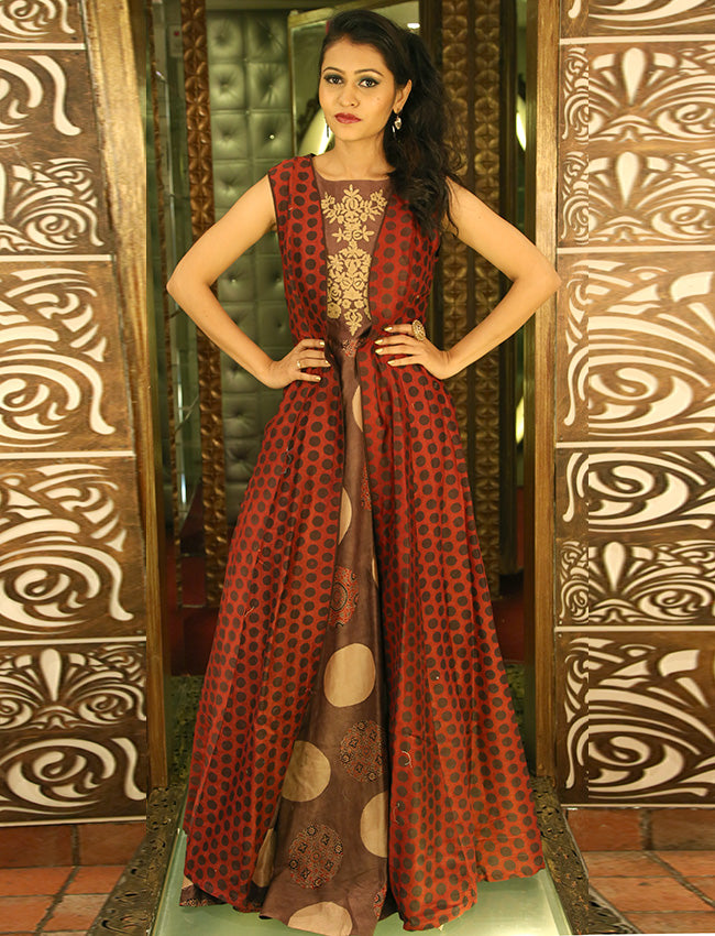 Brown and rust printed jacket style kurti with thread embroidery