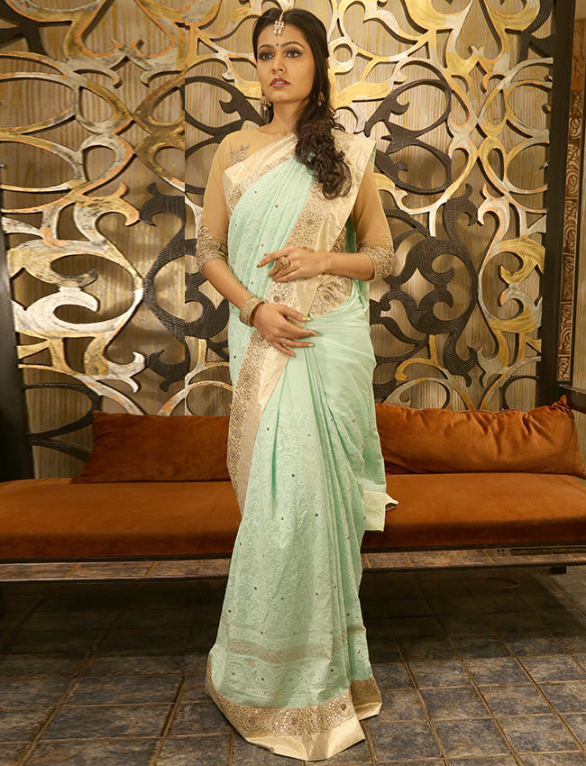 Mint lucknowi saree with zari embroidery