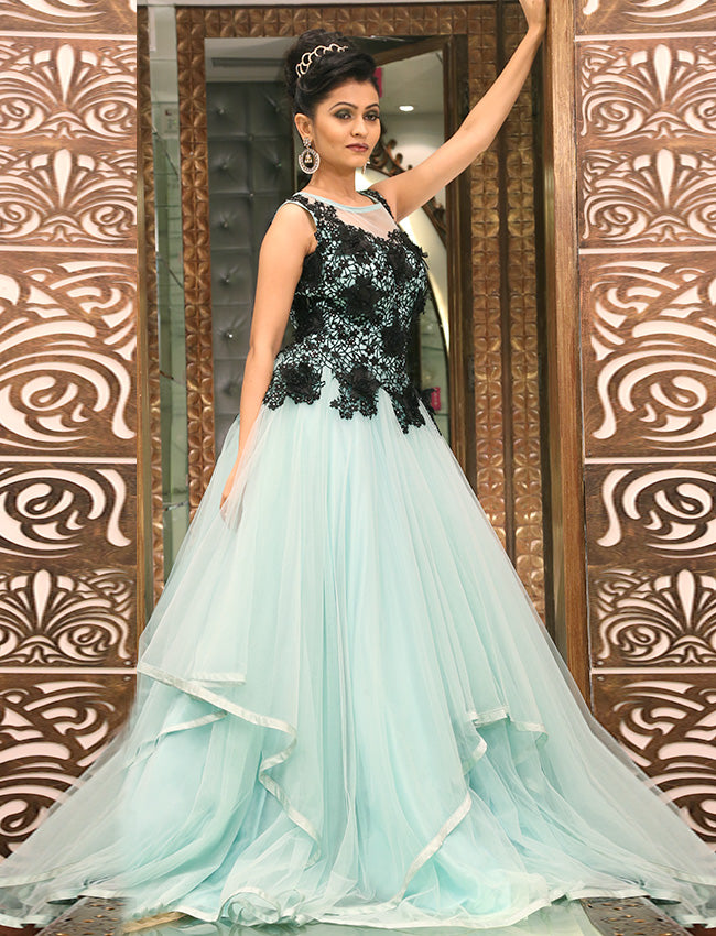 Mint party wear gown with floral applique work