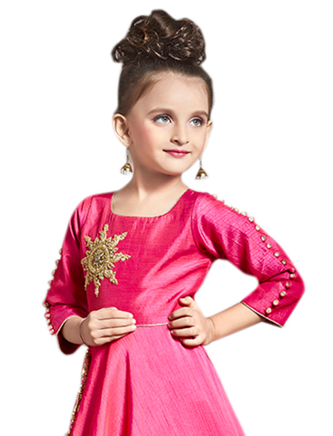 Deep pink gown with zari embroidery