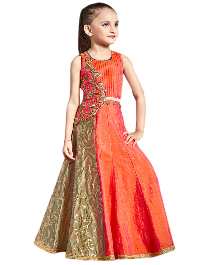 Beautiful orange gown with handwork