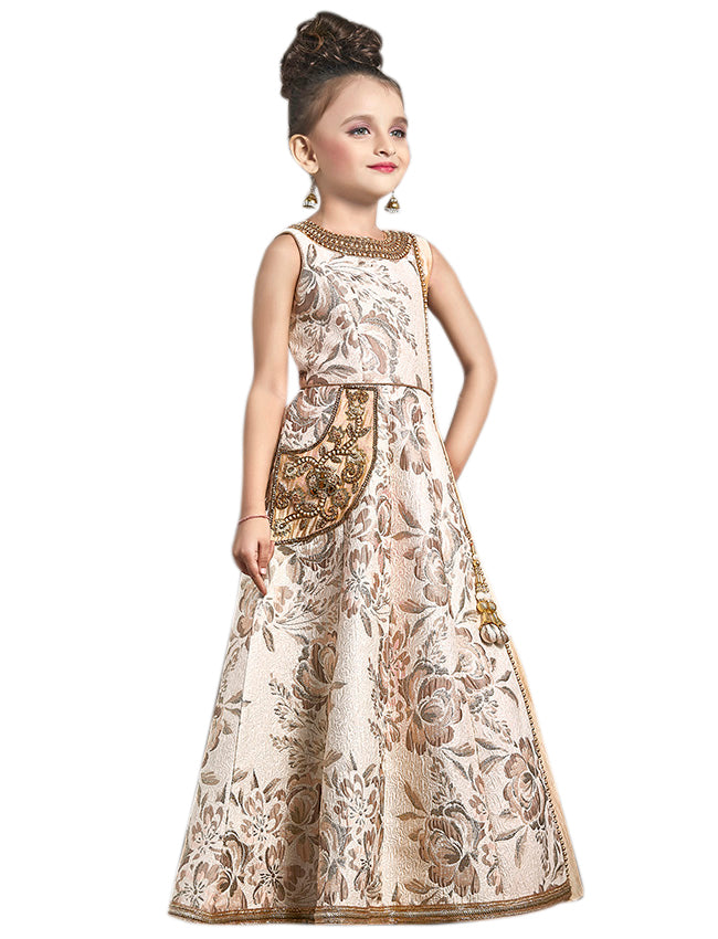 Cream floral gown with handwork