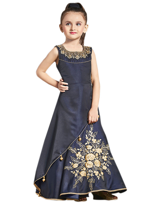 Navy blue gown with zari embroidery and handwork