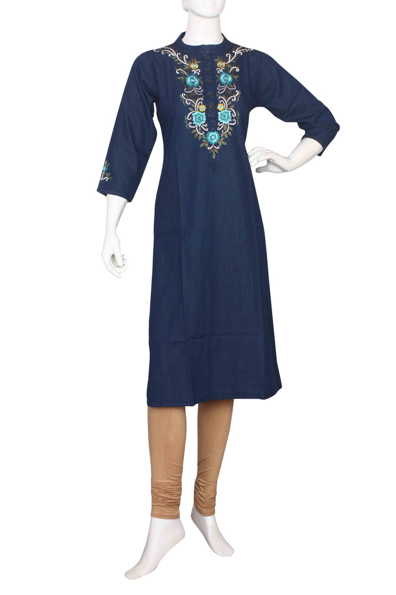 Blue denim straight cut kurti with resham work