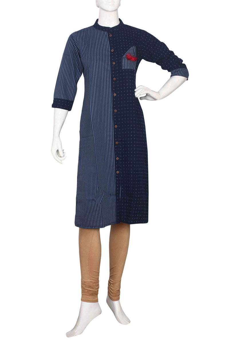 Blue denim straight cut  kurti with self weaving
