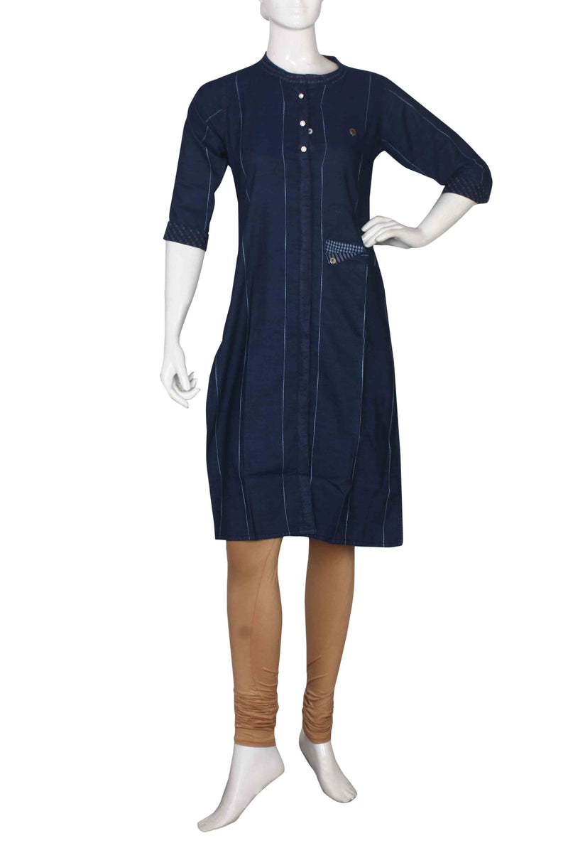 Blue denim straight cut kurti