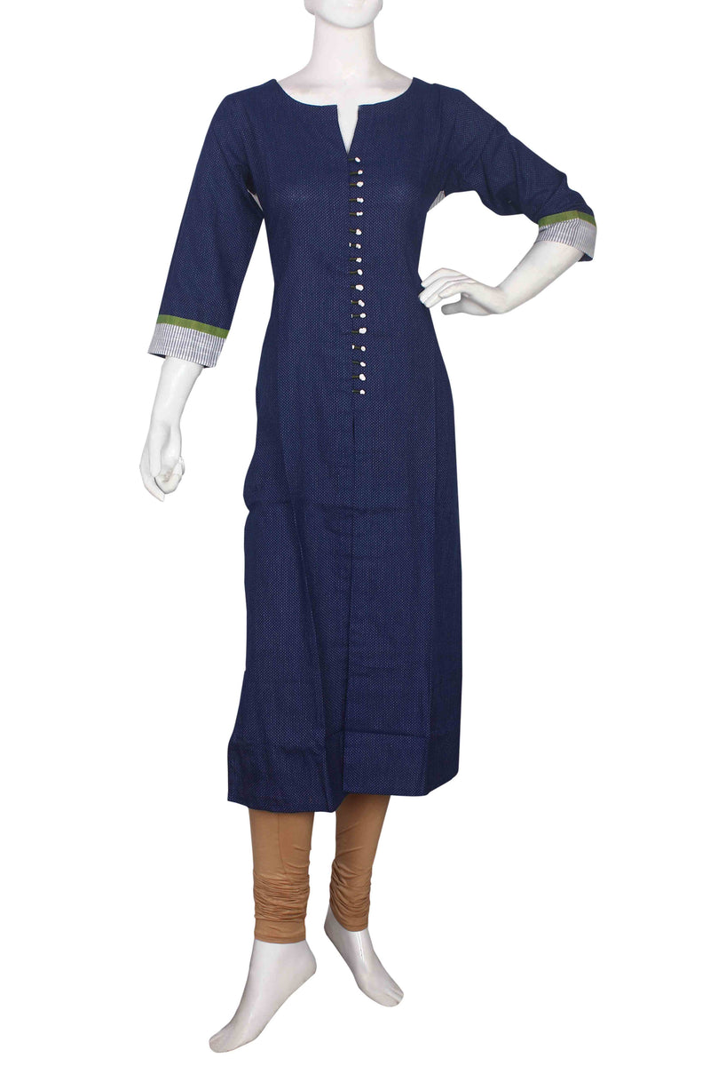 Blue A line kurti with embroidery