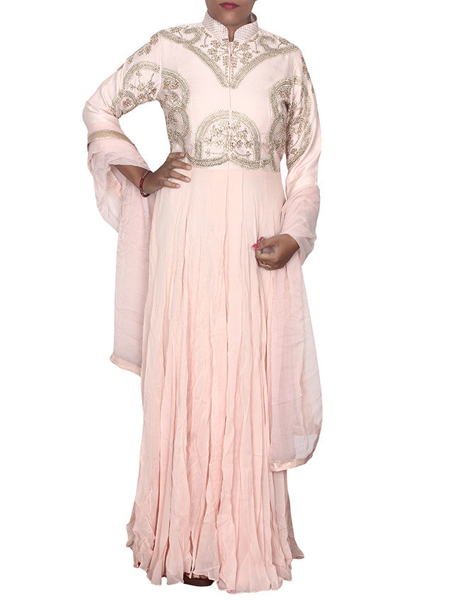 Light peach designer suit with handwork