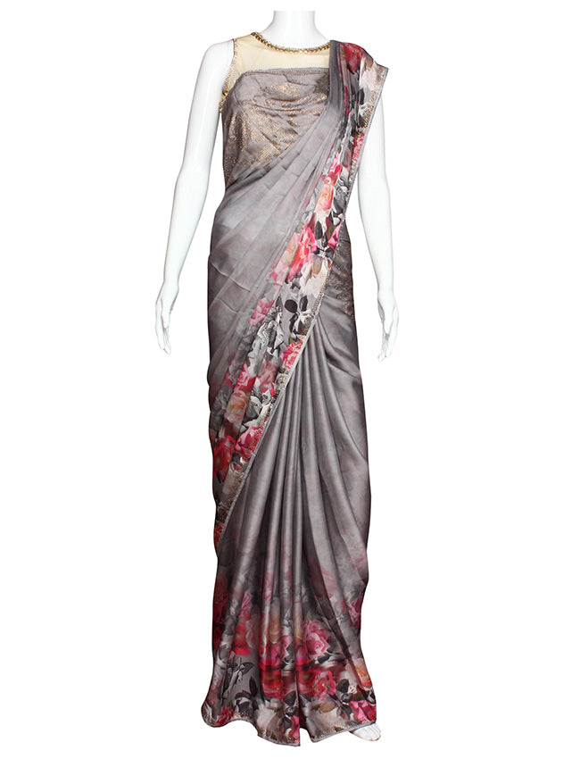 Grey digital printed party wear saree with swarovski