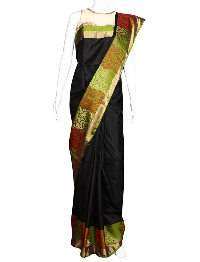 Black party wear saree with self weaving motifs