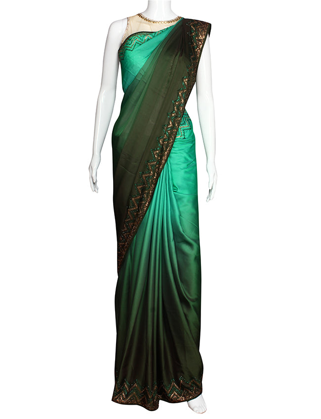 Shaded green party wear saree with swarovski