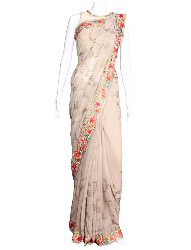 Beige party wear saree with resham embroidery and swarovski