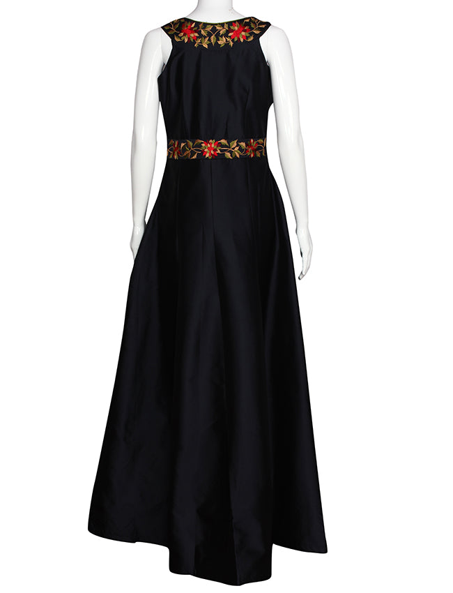Navy blue anarkali suit with resham embroidery