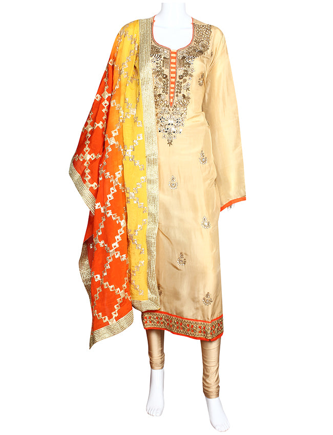 Cream semi stitched suit with handwork and gotta lace