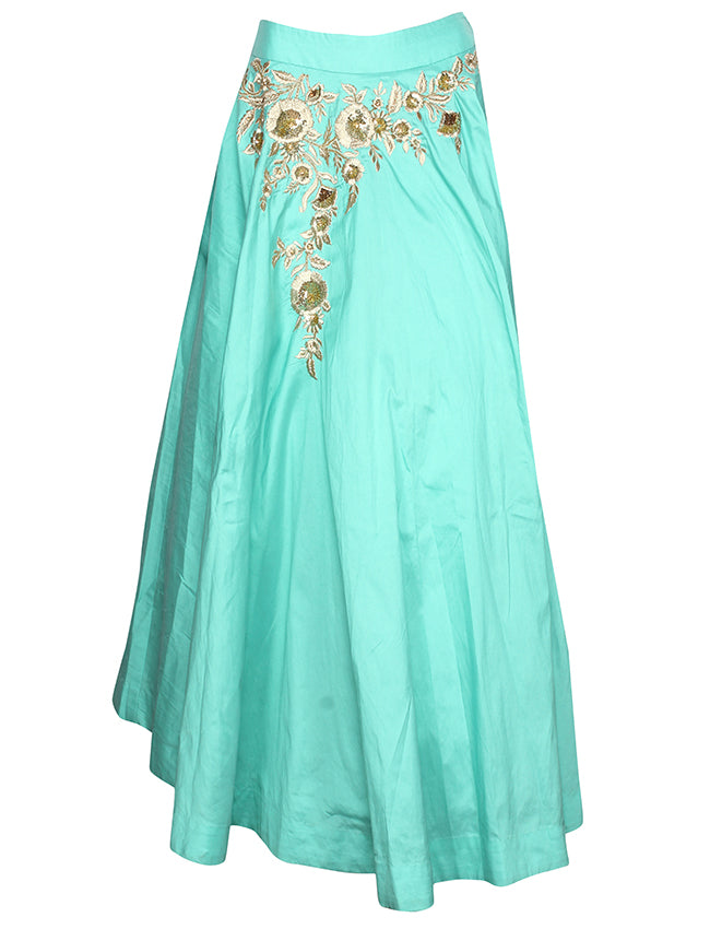 Turquoise party wear lehenga with zari embroidery and handwork