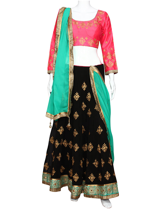 Black and deep pink lehenga with golden aari embroidery