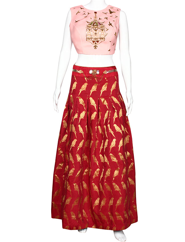Rose red party wear lehenga with antique golden handwork
