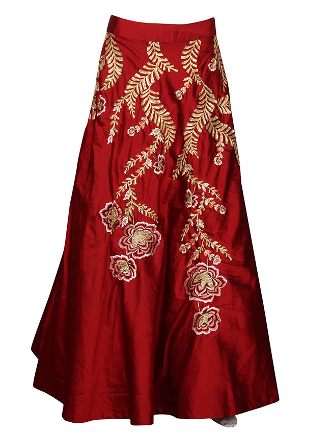 Brown bridesmaid lehenga with cutdana resham embroidery and leather patchwork