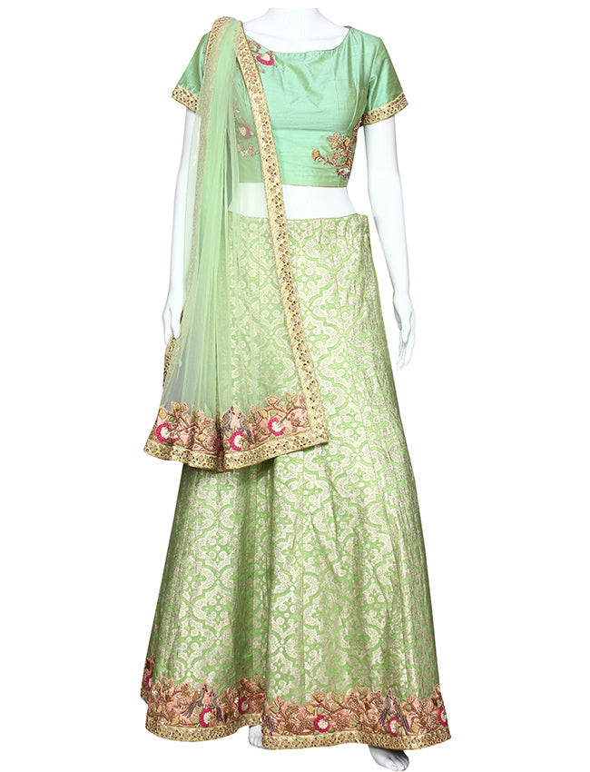 Pista green lehenga with thread zari embroidery and handwork