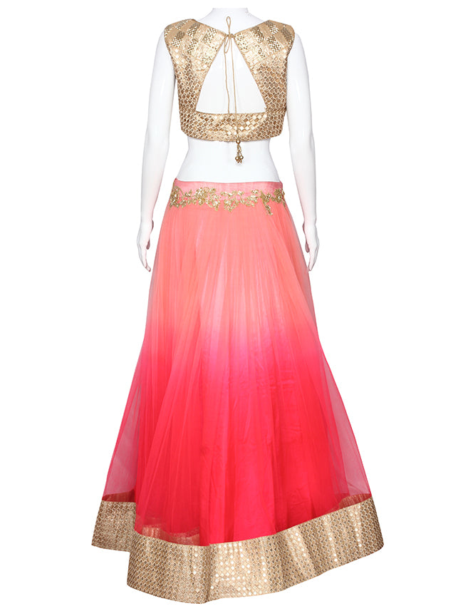 Shaded neon pink lehenga with sequins and cutdana work