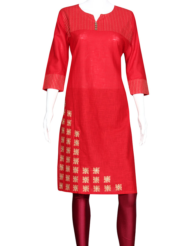 Red straight cut empire line kurti with machine embroidery