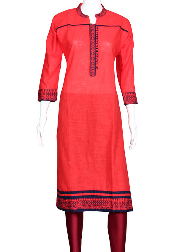 Coral straight cut kurti with machine embroidery