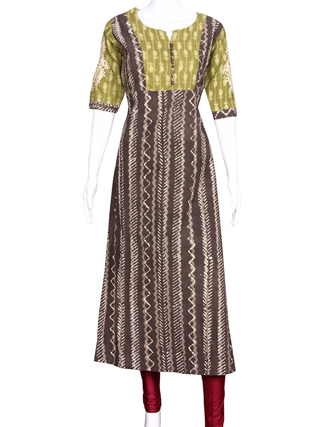 Ash grey printed A line kurti with thread embroidery