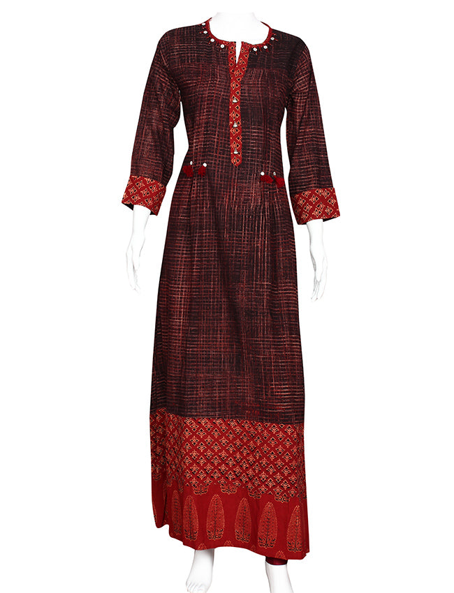 Wine printed empire line kurti with beads