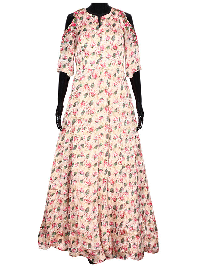 Beige floral printed anarkali with resham embroidery and handwork