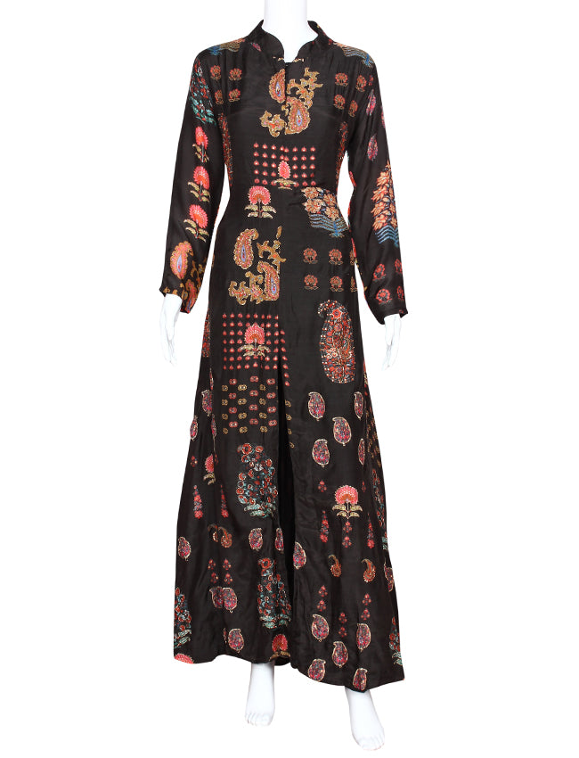 Black floral and paisley printed A line kurti with handwork