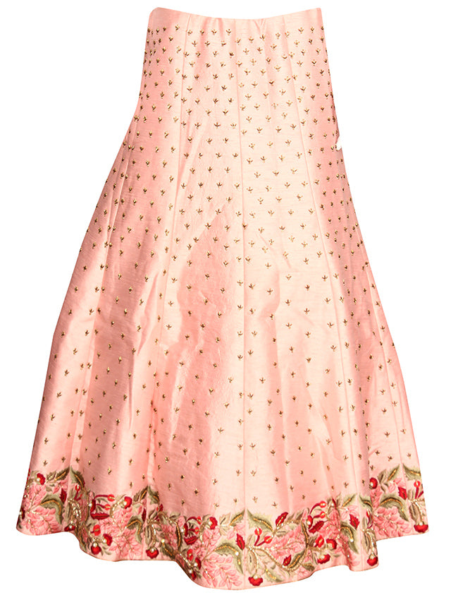 Baby pink bridal lehenga with cutdana sequins and resham embroidery