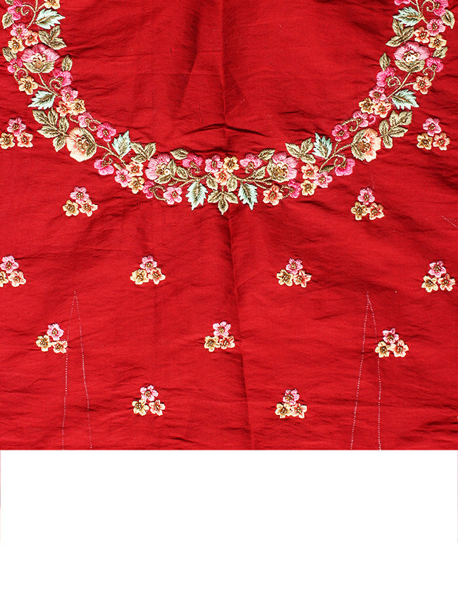Maroon bridesmaid unstitched lehenga with thread embroidery and handwork