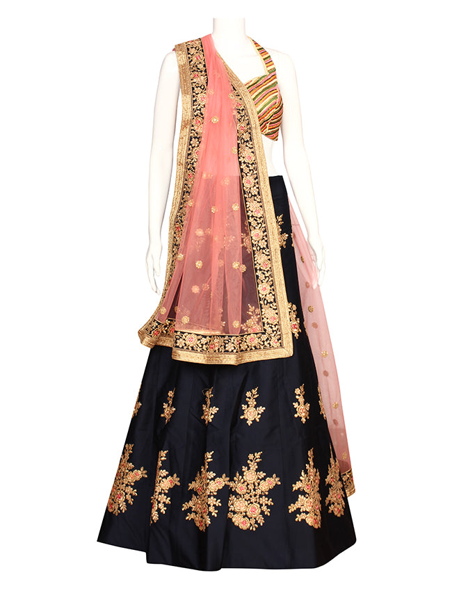 Navy blue bridal unstitched lehenga with kundan resham embroidery and zari cording