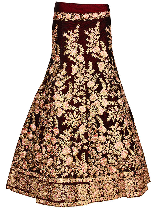 Maroon velvet unstitched lehenga with resham embroidery and zari cording