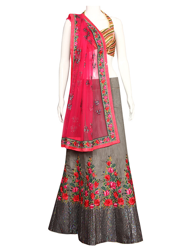 Ash grey unstitched bridesmaid lehenga with sequins and resham embroidery