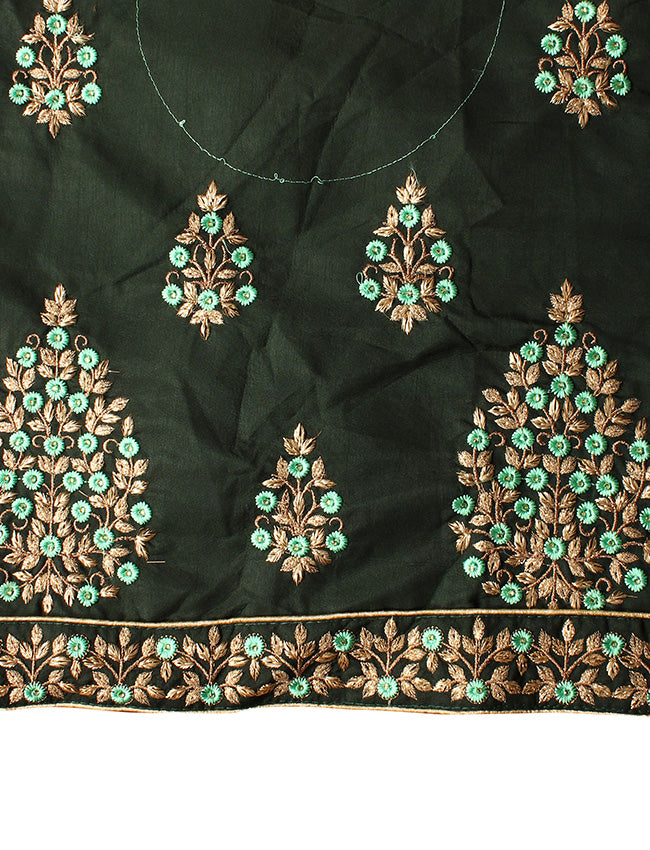 Dusty green bridal unstitched lehenga with resham and zari embroidery