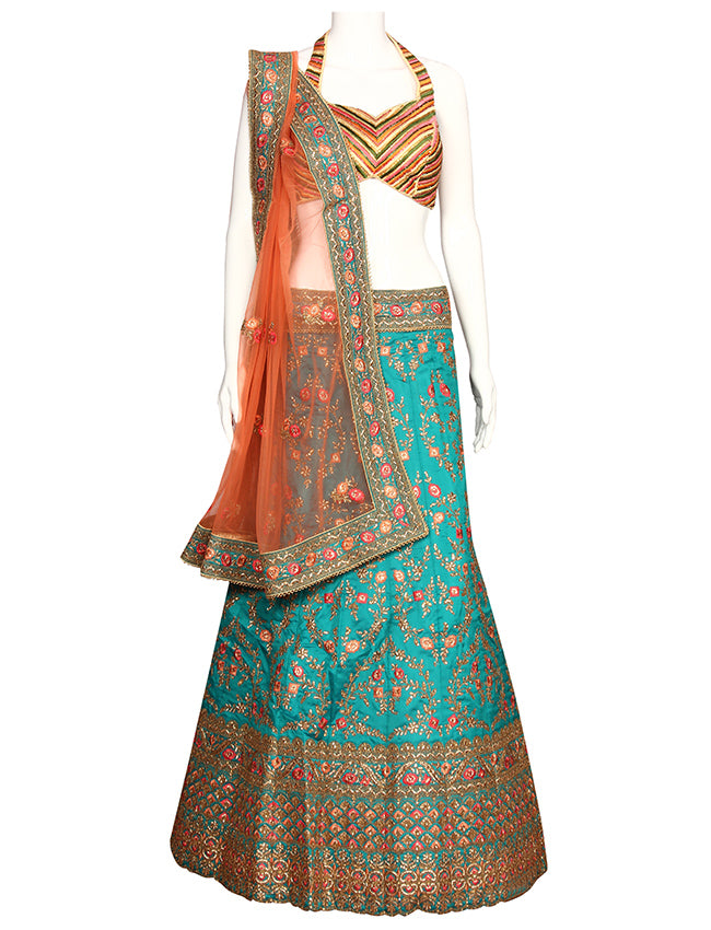 Teal green unstitched bridal lehenga with kundan resham embroidery and zari cording