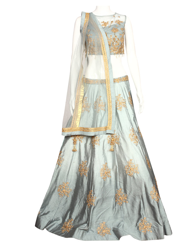 Grey bridesmaid lehenga with zari embroidery and handwork