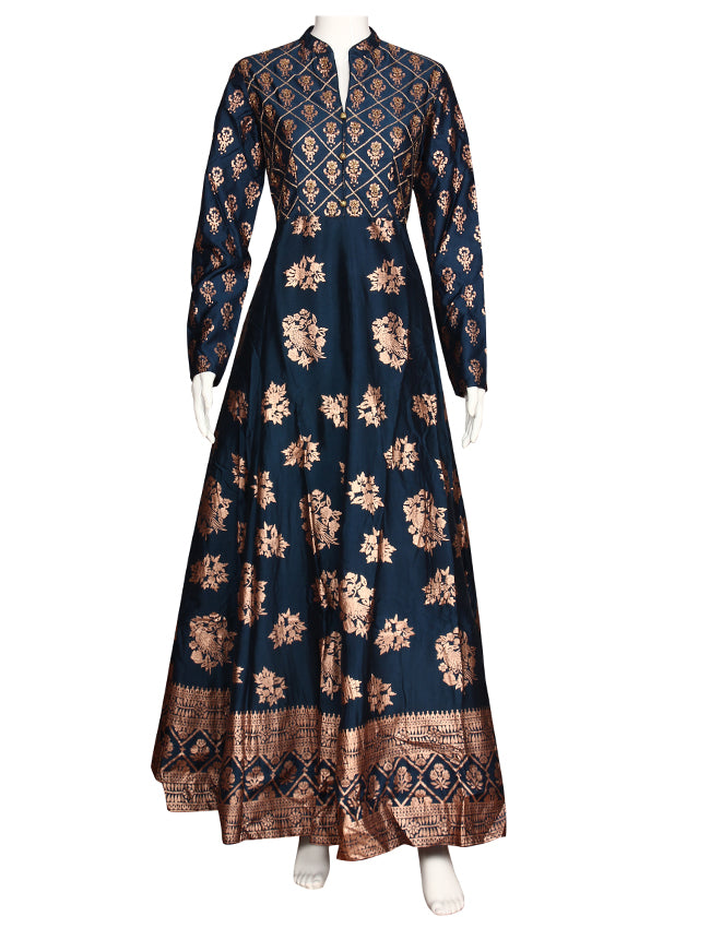 Peacock blue anarkali with foil print and handwork